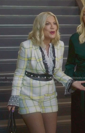 Tori's white and yellow plaid blazer and shorts on BH90210