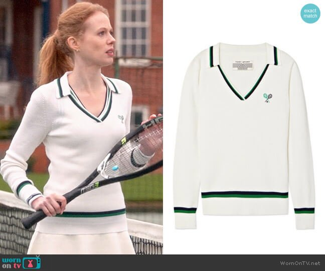 Tory Sport Ribbed Merino Polo Sweater worn by Gemma (Zoe Boyle) on Four Weddings & a Funeral