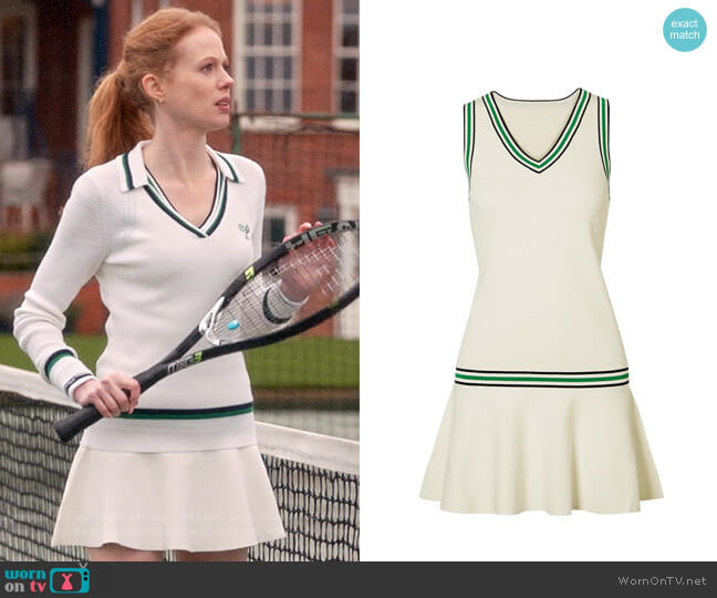 Tory Sport Striped Stretch-knit Mini Dress worn by Gemma (Zoe Boyle) on Four Weddings & a Funeral