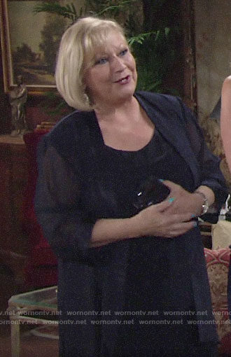 Traci's navy jacket and blouse on The Young and the Restless