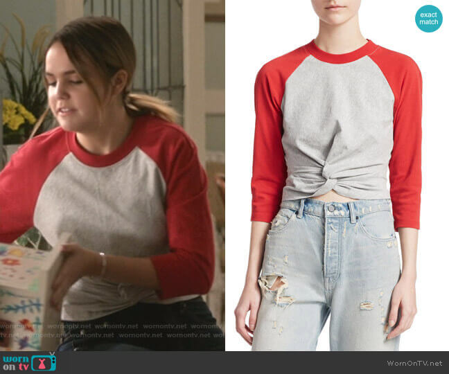 Twist-Hem Baseball T-Shirt by T by Alexander Wang worn by Grace Russell (Bailee Madison) on Good Witch
