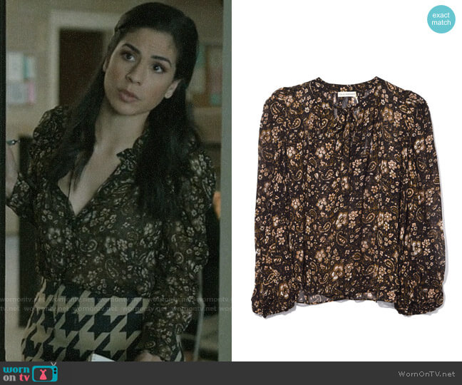 Ulla Johnson Carmine Blouse In Forest worn by Yoli Castillo (Isabel Arraiza) on Pearson