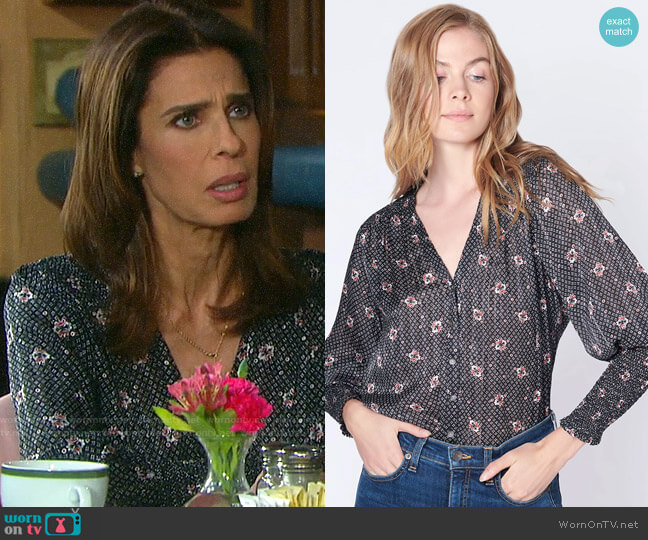 Veronica Beard Maree Blouse worn by Hope Williams (Kristian Alfonso) on Days of our Lives
