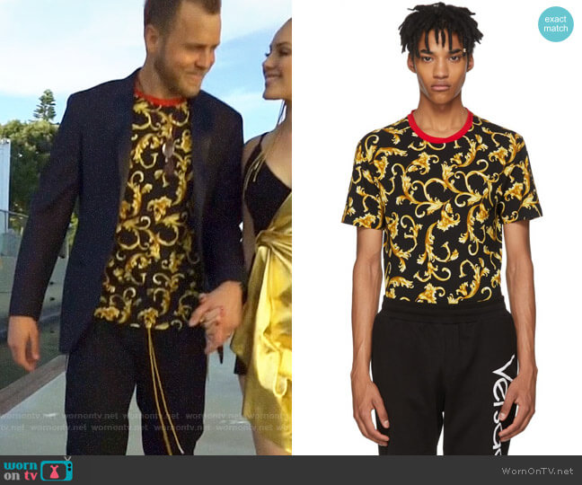 Versace Brocade Print T-shirt worn by Spencer Pratt  on The Hills New Beginnings