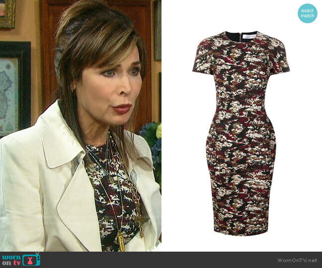 Victoria Beckham Camouflage Jacquard Midi Dress worn by Kate Roberts (Lauren Koslow) on Days of our Lives