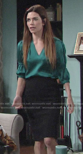 Victoria's green v-neck blouse on The Young and the Restless