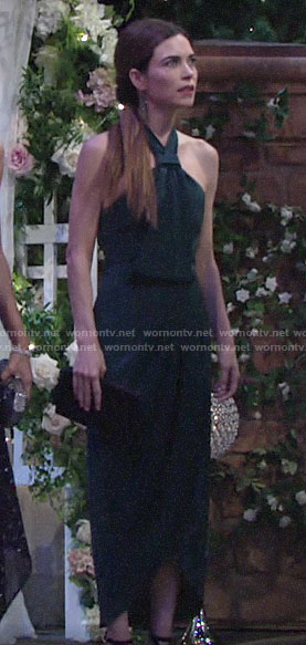 Victoria's teal green halter neck dress at Lola and Kyle's wedding on The Young and the Restless