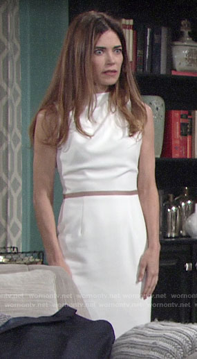 Victoria's white draped neck sheath dress on The Young and the Restless