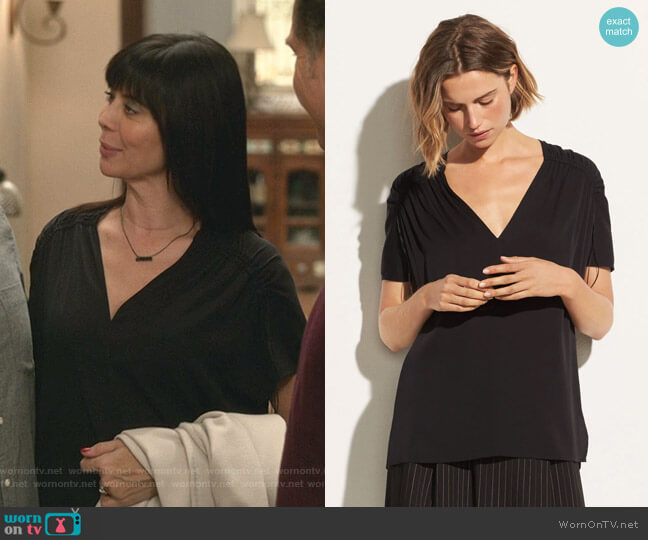 Shirred Short-Sleeve V-Neck Top by Vince worn by Cassandra Nightingale (Catherine Bell) on Good Witch