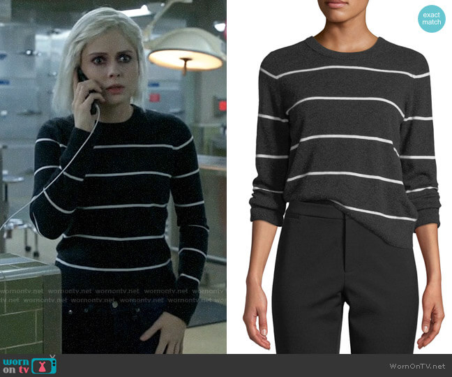 Vince Striped Cashmere Pullover Sweater worn by Liv Moore (Rose McIver) on iZombie
