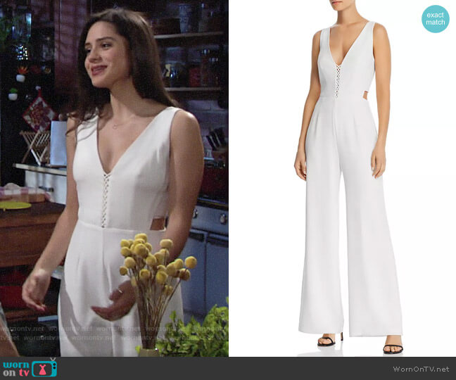 WAYF Virgil Cutout Wide-Leg Jumpsuit worn by Lola Rosales (Sasha Calle) on The Young & the Restless