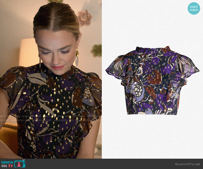 Whistles Bernadette Montrose Print Top worn by Ainsley Howard (Rebecca Rittenhouse) on Four Weddings & a Funeral