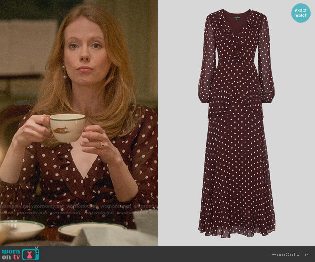 Whistles Desiree Spot Frill Maxi Dress worn by Gemma (Zoe Boyle) on Four Weddings & a Funeral