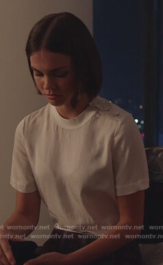 Callie's white button shoulder tee on Good Trouble