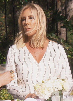 Vicki's white chain print blouse on The Real Housewives of Orange County
