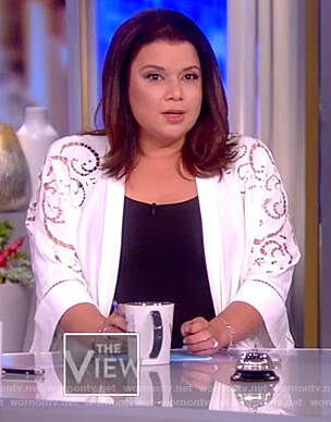 Ana's white eyelet kimono jacket on The View