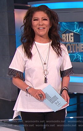 Julie's white asymmetric fringe sleeve top on Big Brother