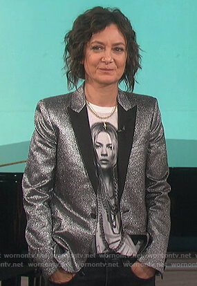 Sara's silver metallic blazer on The Talk
