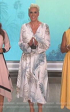 Brigette Nielsen's white palm print dress on The Talk