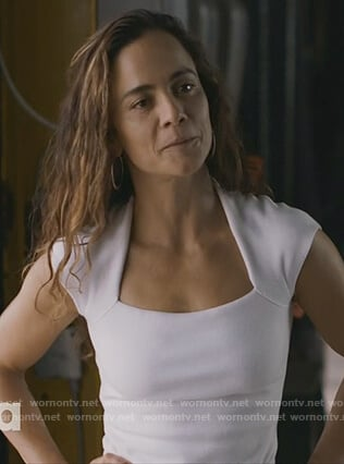 Teresa's white square neck top on Queen of the South