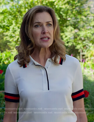 Nora's stripe trim polo on 13 Reasons Why