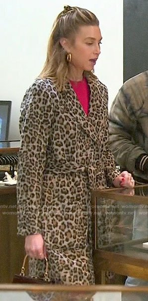 Whitney Port's leopard wrap coat on The Hills New Beginnings