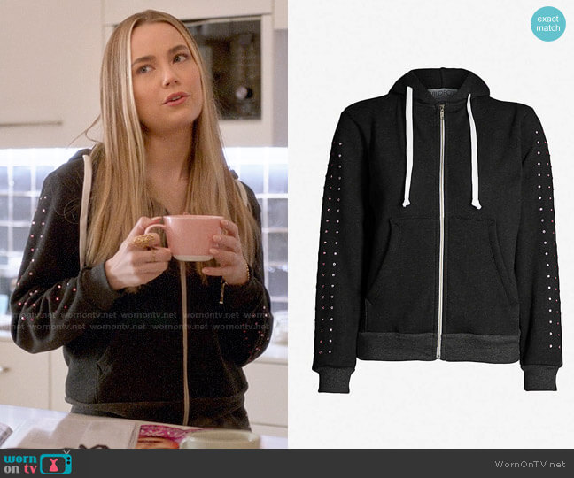 Wildfox Rainbow Glitz Hoodie worn by Ainsley Howard (Rebecca Rittenhouse) on Four Weddings & a Funeral
