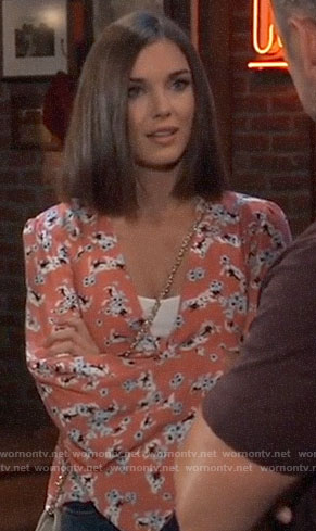 Willow's coral floral top on General Hospital