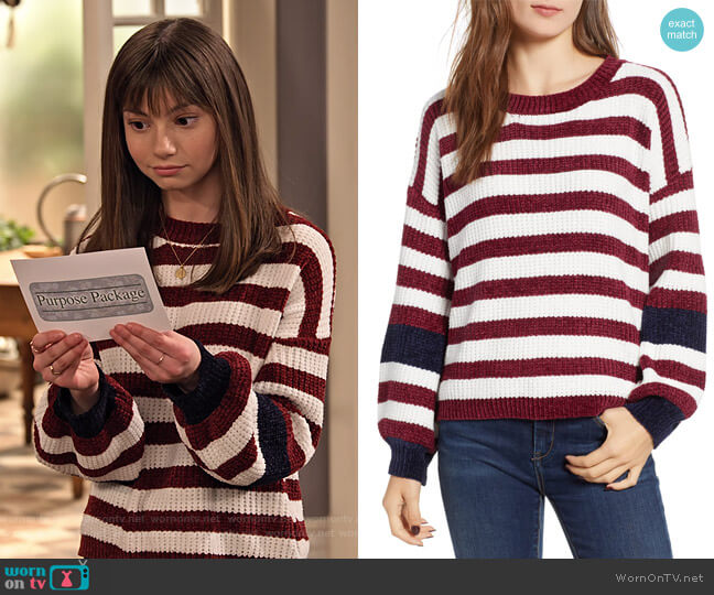 Stripe Crewneck Chenille Sweater by Woven Heart worn by Molly (Lauren Lindsey Donzis) on No Good Nick