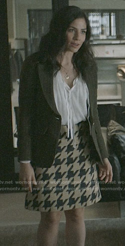 Yoli's pinstriped blazer and houndstooth skirt on Pearson