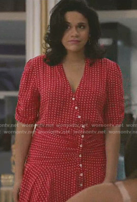 Yoli's red polka dot dress on Grand Hotel