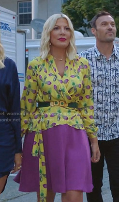 Tori's yellow floral wrap top on BH90210