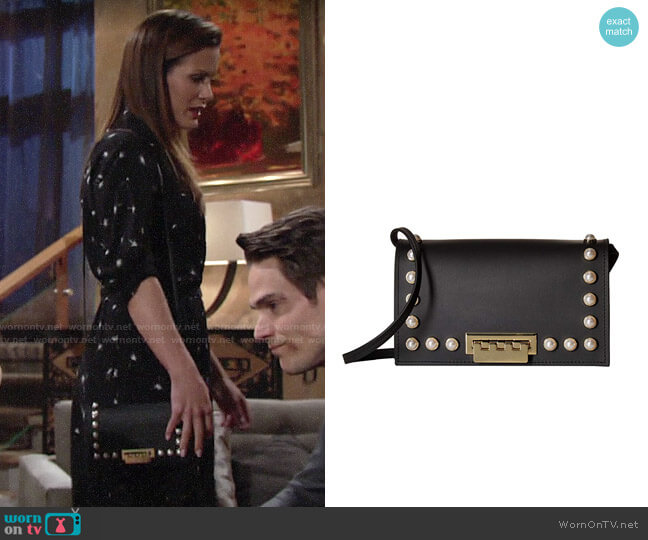 ZAC Zac Posen Earthette Crossbody-Black w/Pearls worn by Chelsea Lawson (Melissa Claire Egan) on The Young & the Restless