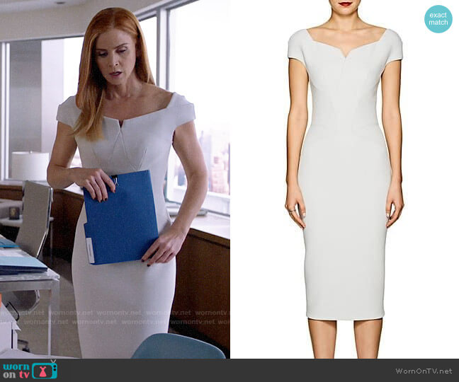 Zac Posen Bonded Crepe Fitted Sheath Dress worn by Donna Paulsen (Sarah Rafferty) on Suits