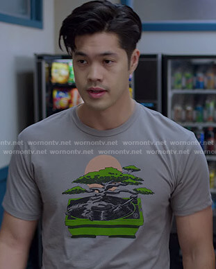 Zach's grey bonsai print tee on 13 Reasons Why
