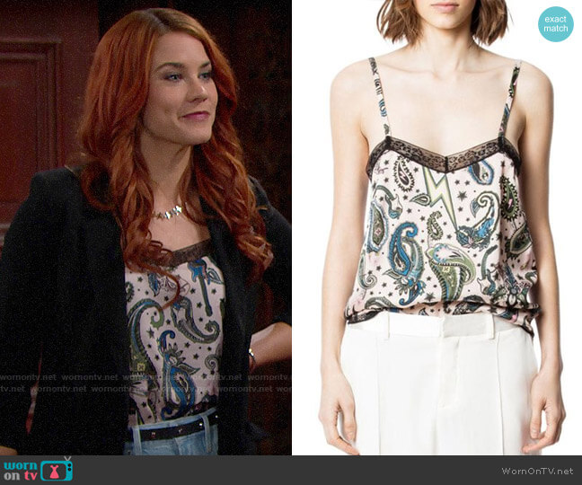 Zadig & Voltaire Camel Paisley Camisole Top worn by Sally Spectra (Courtney Hope) on The Bold & the Beautiful