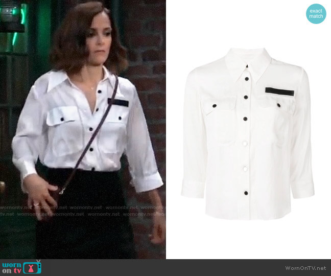 Zadig & Voltaire Toast Shirt worn by Hayden Barnes (Rebecca Budig) on General Hospital