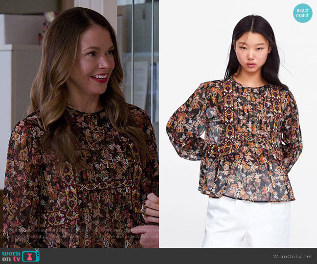 Embroidered Floral Print Blouse by Zara worn by Liza Miller (Sutton Foster) on Younger