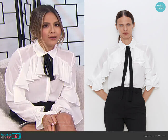 Ruffles Shirts with Bow by Zara worn by Erin Lim  on E! News