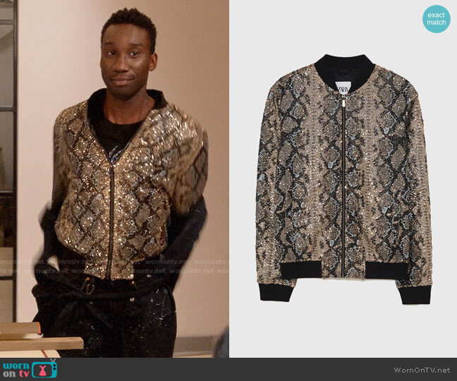 Zara Snakeskin Print Sequinned Bomber Jacket worn by Tony (Nathan Stewart-Jarrett) on Four Weddings & a Funeral