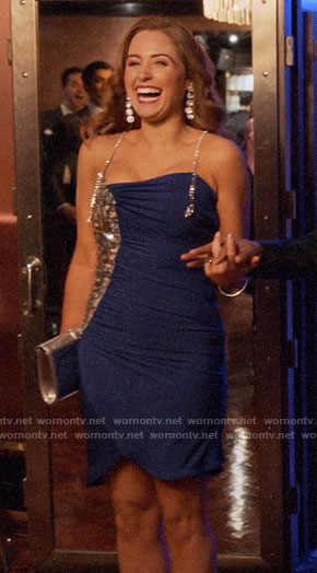 Zara's blue sequin patch dress on Four Weddings and a Funeral