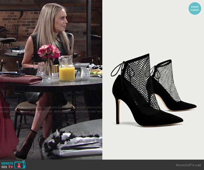 Zara Fishnet Pumps worn by Abby Newman (Melissa Ordway) on The Young & the Restless