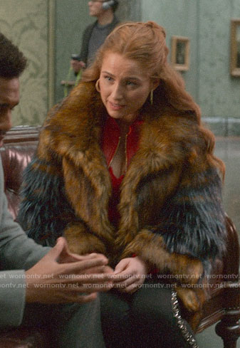 Zara's fur coat on Four Weddings and a Funeral