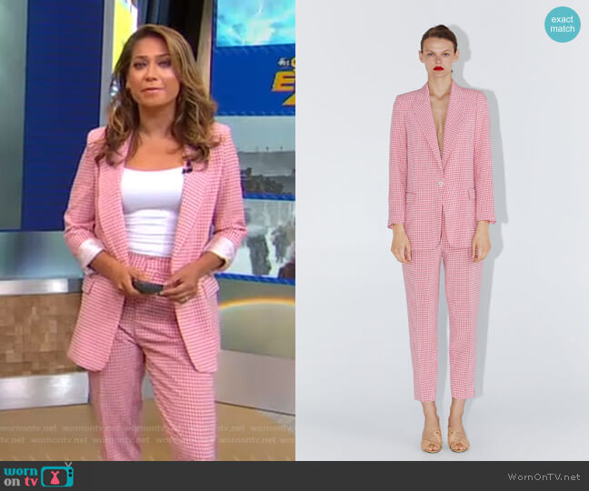 Gingham Blazer and Pants by Zara worn by Ginger Zee  on Good Morning America