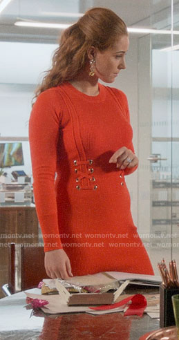 Zara's orange dress with lace-up detail on Four Weddings and a Funeral