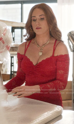 Zara's red lace dress on Four Weddings and a Funeral