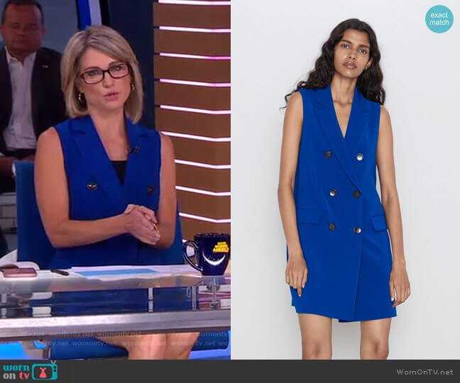 Sleeveless Buttoned Dress by Zara worn by Amy Robach  on Good Morning America