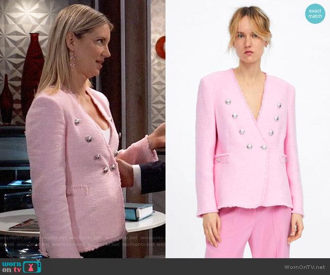 Zara Pink Tweed Jacket with Buttons worn by Nina Reeves (Cynthia Watros) on General Hospital
