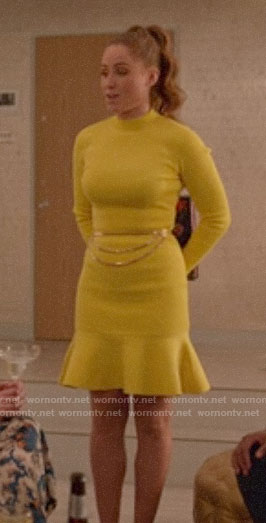 Zara's yellow long sleeve dress on Four Weddings and a Funeral