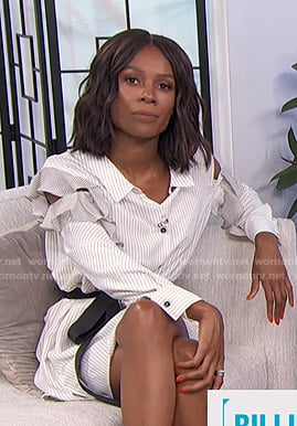 Zuri's white striped ruffled shirtdress on E! News